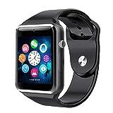 ZJHNZS Reloj Inteligente Reloj Inteligente Bluetooth Reloj Podómetro Deportivo con cámara SIM Rastreador de Ejercicios gsm Reloj Hombres Smartwatch para Android Apple iOS, Negro