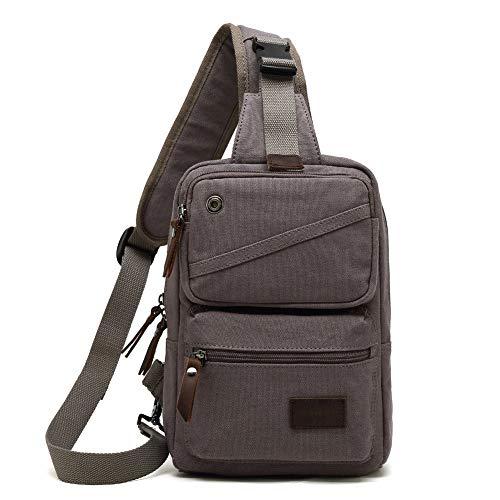 AUGUR Schultertasche Mann Handtasche Crossbody Kleine Schulter Rucksack Reise Brust Pack Umhängetasche für Männer und Frauen,Grau