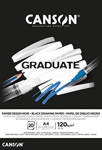 Canson Graduate Black Fino 120g Bloc Encolado A4 20H Negro