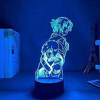 GMYXSW 3D夜ライト誕生日LED装飾ランプアニメ攻撃寝室の装飾のためのティチャンのアニーレオンハートライトのためのティチンのティチンLEDの夜のライトMikasa