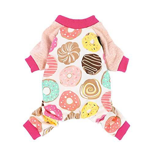 Fitwarm Cute Donut Dog Clothes Soft Dogs Pajamas Breathable Pet PJS Cat Onesies Doggie Shirts Pink Small