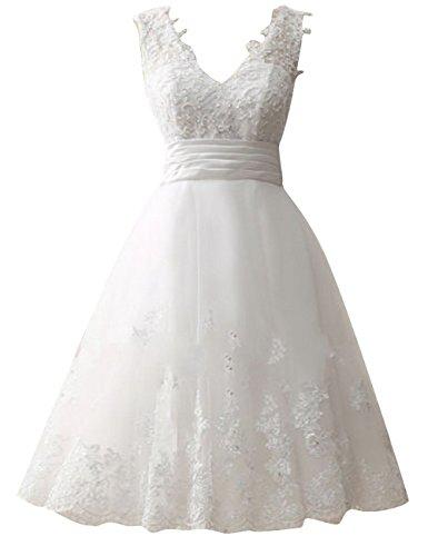 Brautkleid Kurz Hochzeitskleider Damen Tüll Spitze Brautmode V-Ausschnitt A Linie Weiß EUR56