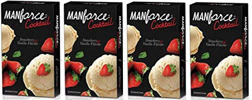 Manforce Cocktail Condom (Strawberry and Vanilla Flavoured) For Men, Set Of 4 (4 * 10) 40s