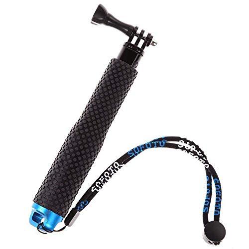 ShipeeKin Rubberized Aluminum Hand Grip Waterproof Selfie Stick Extendable 7-19' Telescopic Handheld Pole Monopod for GoPro HD Hero 6/5/4/3+/3/2/1, Geekpro, SJCAM SJ4000 SJ5000 AKASO EK7000 (Blue)