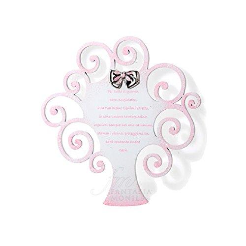 Bild Heilig Form Baum der Leben Mädchen pink Gebet Schutzengel Silber 925Holz Größe 23x 24Acca 592r.1