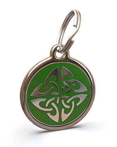 UNLEASHED.DOG Customizable Engraved Dog ID Tag - Stainless Steel with Triquetra Enamel Inlay - Green | Large