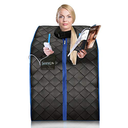 SereneLife AZSLISAU10BK Infrared Home Spa One Person Sauna with Heating Foot Pad and Portable Chair, Black