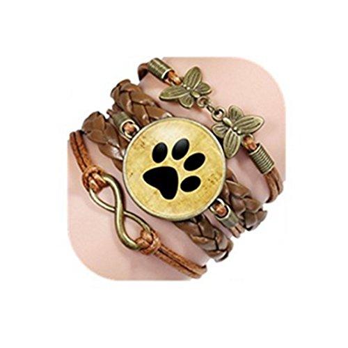 Pulsera hecha a mano con cabujón de cristal para amantes de perros, huellas de perro, pulseras de...