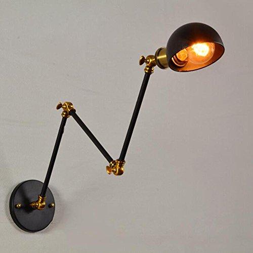 Wandlamp, drie secties, uittrekbaar, lange stang, verstelbaar, vintage, industrieel, LED, metaal, E27, lampenkap, bedlampje, bevestiging