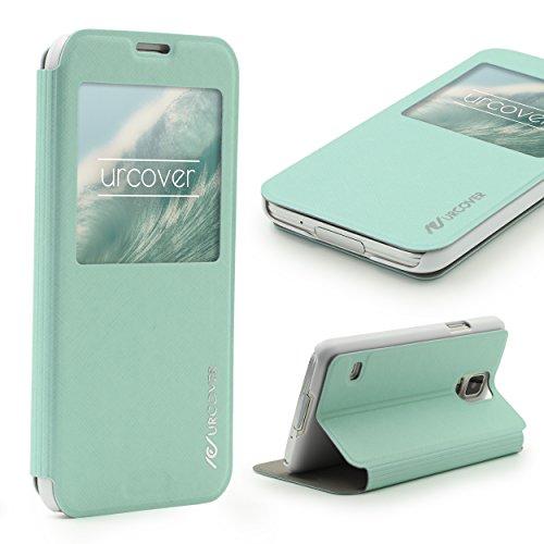 Urcover® View Hülle Wallet kompatibel mit Samsung Galaxy S5 Handy Schutz-Hülle Türkis | Cover Sicht-Fenster | leichte Schale dünne Tasche