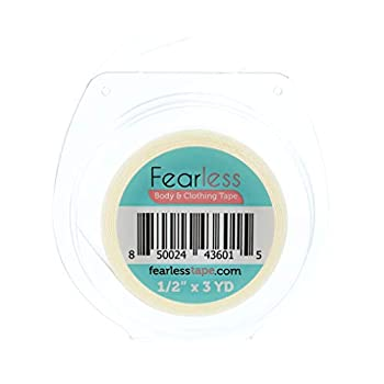 """Fearless Tape - Womens Double Sided Tape for Clothing and Body Transparent Clear Color for All Skin Shades ½"""" x 3 Yard Roll"""