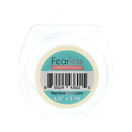 """Fearless Tape - Womens Double Sided Tape for Clothing and Body, Transparent Clear Color for All Skin Shades, ½"""" x 3 Yard Roll"""