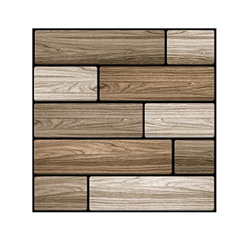 GL-GDD 10 unids 3D DIY Easy Peel and Stick Wood Wall Paneling para la Sala de Estar de la Pared de la Sala de Estar y la decoración del hogar (9.6 pies Cuadrados por Caja)