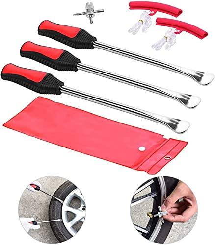 Xushan - Desmontar neumáticos de bicicleta y moto, palanca desmontar neumáticos de pala, separador de neumáticos, tiro palanca, kit de cambio de neumáticos con tres obuses de válvula.