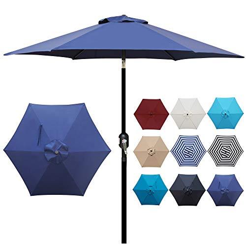 Blissun 7.5 ft Patio Umbrella, Yard Umbrella Push Button Tilt Crank (Navy Blue)