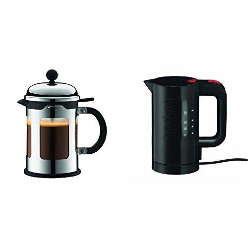 Bodum 11171-16 New-Chambord Cafetière à Piston / Bec Verseur 4 Tasses / 0,5 L + Bouilloire électrique 0.5 L noire