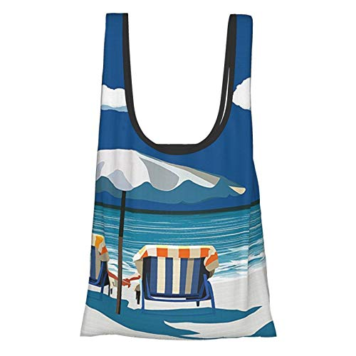 Pareja costera en la cubierta Sillas playa sosteniendo las manos paraguas Romance mar vacaciones azul blanco azul luz azul reutilizable bolsas de comestibles, bolsa de compras ecológica