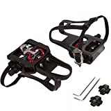 """SPD Pedals for Spin Bike with Toe Cages (SPD Cleats Included) - 2-in-1 SPD Shimano Clip Pedals with Toe Straps - Compatible with Peloton, NordicTrack, Other Spin Bikes with 9/16"""" Spindle"""