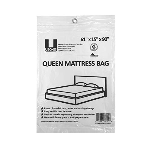 uBoxes Queen Mattress Poly Covers, 61 x 15 x 90 inch, Heavy Duty 2 mil, 1 Pack