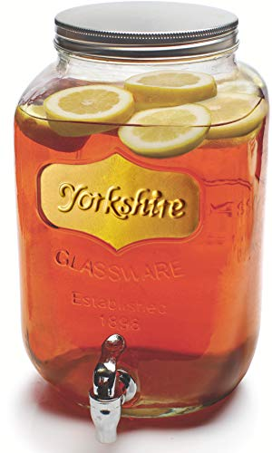 Circleware Sun Tea Mason Jar Glass Beverage Dispenser with Lid, Fun Party Home Entertainment Glassware Water Pitcher for Juice, Beer, Punch, Iced Tea & Cold Drinks, Huge 2 Gallon, Gold Yorkshire