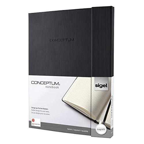 SIGEL CO141 Notizbuch, A4+, kariert, Hardcover, schwarz, mit Magnetverschluss, 194 Seiten, Conceptum - weitere Größen
