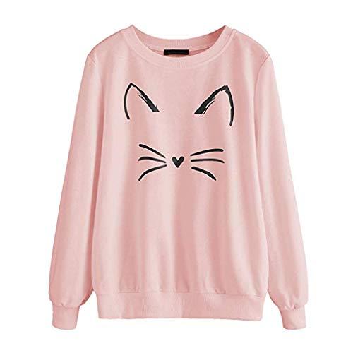 VJGOAL Sweatshirt Femme Chat Imprimé Col Rond Doux T-Shirt Sweat Fille Dessin Animé Cadeau Manches Longues Pullover Chic Casual Accueil Outdoor Fondation Vêtements S-2XL