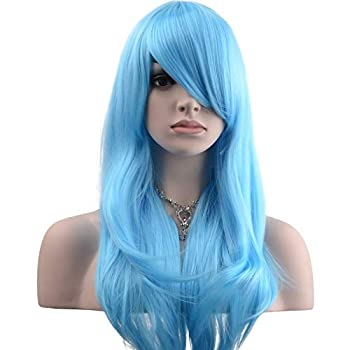 YOPO 28  Wig Long Big Wavy Hair Women Cosplay Party Costume Wig Light Blue