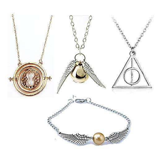 OPENDGO 4 Stück HP Halskette Armband Set Time Turner Deathly Hallows Goldener Schnatz für HP Fans Geschenke Sammlung oder Dekorationen