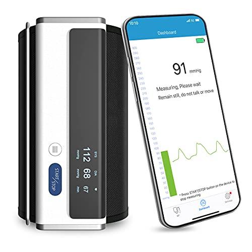 Tensiometro de Brazo Bluetooth, Wellue Inalámbrica Monitor de Presión con Onda de Pulso, Datos, Tendencia y Multi Usuario Administración con Almacenamiento Ilimitado en APP Gratuita para Android y iOS
