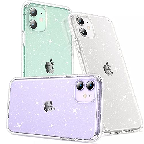 CASEKOO Crystal Glitter Designed for iPhone 11 Case, [Not Yellowing] [Military Grade Drop Tested] Bling Clear Shockproof Protective Phone Case Thin Slim Cover (6.1 inch) 2019, Twinkle Stardust