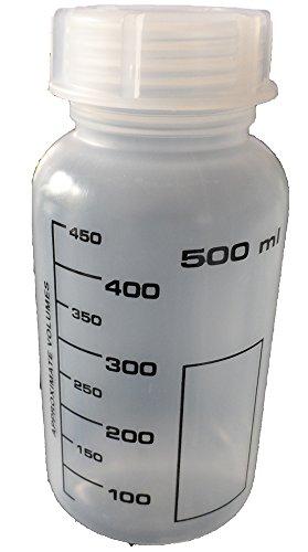 Weithalsflasche, PP, rund, graduiert, incl. Verschraubung (500 ml)
