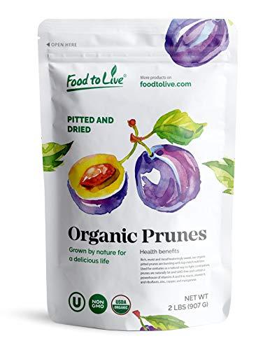 Organic Pitted Prunes, 2 Pounds — Dried California Plums, Non-GMO, Kosher, Unsulfured, Unsweetened, Bulk