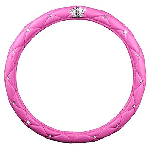 Dswe Corona de Coche de 38 cm con Cubierta de Volante de Diamante Accesorios de Coche Sin Productos químicos irritantes Cubierta de Volante - Rosa roja - 38cm