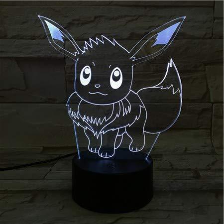 Lampara LED Videojuego Pokémon Eevee Cambia Color USB Luz nocturna y decoración