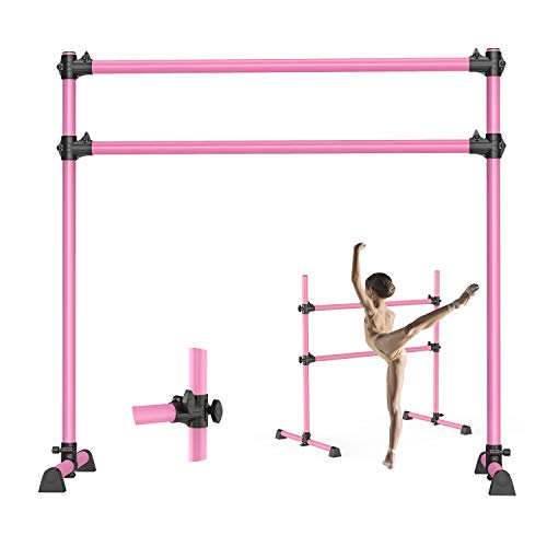 Yesker Ballet Barre 4 Feet Portable Ballet Equipment Pink Color for Kid Height Adjustable Double Ballet Bar Fitness Dancing Stretching Bar for Home