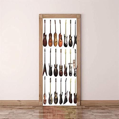Fantxzcy decoracion hogar moderno Guitarra instrumento musical guitarra eléctrica. 95x215cm Arte de puerta 3D, calcomanías de puerta extraíbles, mural de puerta autoadhesivo, etiqueta de puerta para d