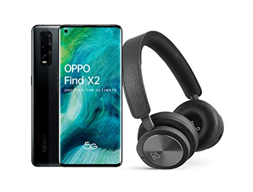 OPPO Find X2 5G – Smartphone de 6.7' (AMOLED, 12GB/256GB, Octa-core, cámara trasera 48MP+13MP+12MP, cámara frontal 32MP, 4.200 mAh, Android 10, Snapdragon 865) Negro + Auriculares Bang&Olufsen H8i