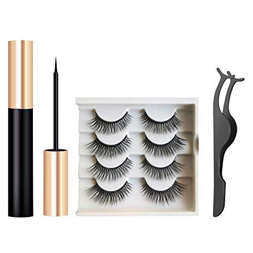 Magnetische Wimpern,Künstliche Wimpern,Magnetischer Eyeliner Set,Mit Wasserdichtem Gelfreiem 3D Magnetische Eyeliner und Wiederverwendbare Falsche Magnetic Eyelashes 4 Pair