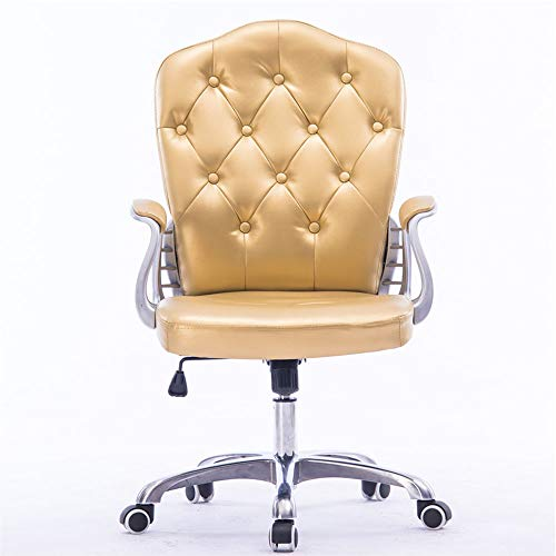 Nye Silla de Oficina de Cuero de PU, Silla giratoria Retro Ajustable en Altura, sillón con Base de Metal, para Estudio de Oficina (Amarillo)