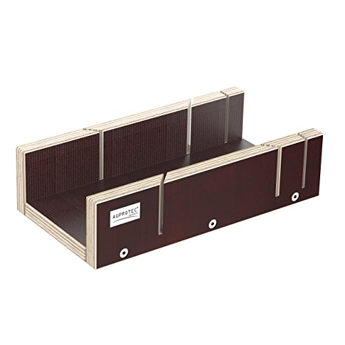 AUPROTEC Schneidlade 250 x 135 x 68 mm Multiplex Birkenholz beschichtet Siebdruck präzise Gehrungslade für beidseitig 45° und 90° Winkel