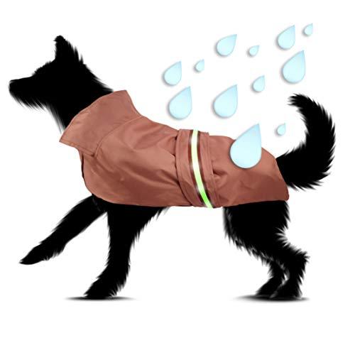 PamperPets Regenmantel für Hunde, mit Leuchtstreifen, braun (Größe M)