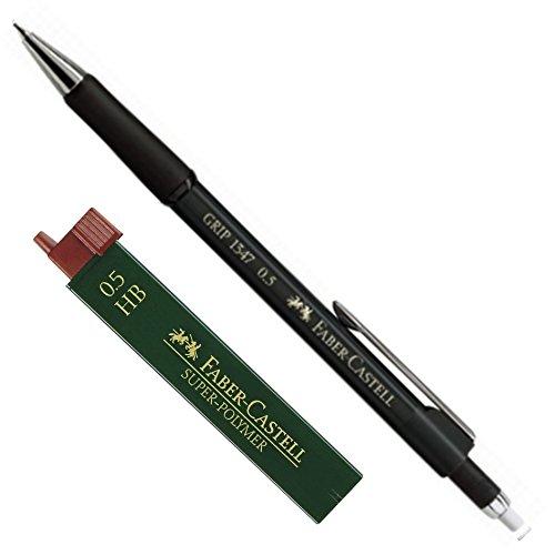 Faber-Castell 1345 - Druckbleistift GRIP, Minenstärke: 0,5 mm, Schaftfarbe: Schwarz Metallic + Dose Ersatzminen