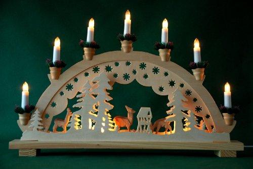 yanka-style Schwibbogen Lichterbogen Rehe geschnitzt 10flammig innenbeleuchtet Weihnachten Advent Geschenk Dekoration
