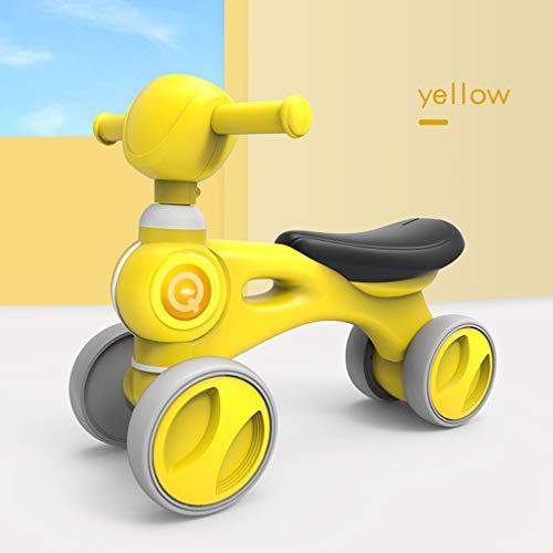Kinder Balance Auto Roller Balance Fahrrad für 1-3 Jahre Fahrt auf Spielzeug Infant Shining Children Baby Walker mit Musik Vier Räder Für Kindergeburtstagsgeschenke,Gelb