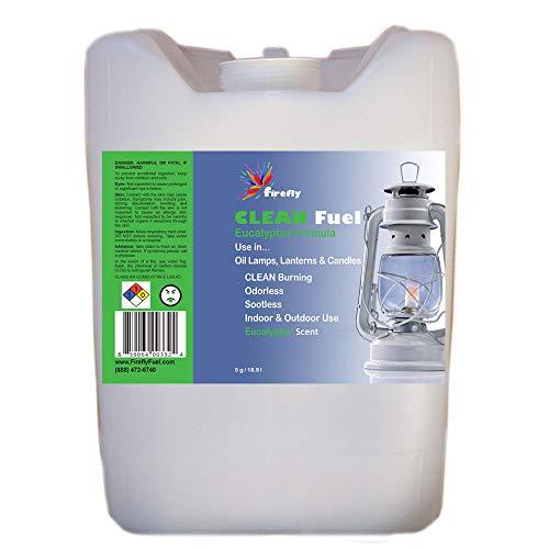 Firefly Eucalyptus Scented Clean Fuel Bulk Lamp Oil – Bulk 5 Gallons – Smokeless/Virtually Odorless – Longer Burning
