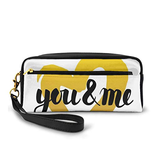 Pencil Case Pen Bag Pouch Stationary,Hand Written Romantic Typography in A Doodle Heart Digital Print,Small Makeup Bag Coin Purse