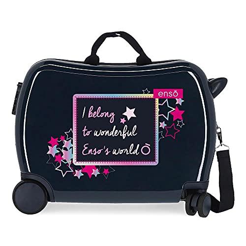 Enso Make a Wish Maleta Infantil Azul 50x38x20 cms Rígida ABS Cierre de combinación Lateral 34 1,8 kgs 4 Ruedas Equipaje de Mano
