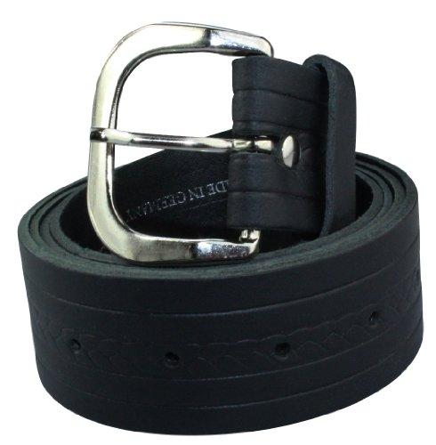 Alex Flittner Designs Echt Ledergürtel Herren Gürtel in schwarz mit schmalem Zopfmuster | Bundweite 125cm = Gesamtlänge 140cm