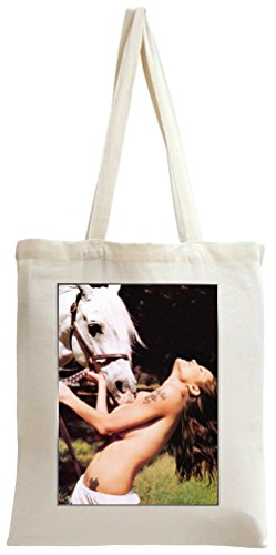 Angelina Jolie Topless With Horse Tote Bag