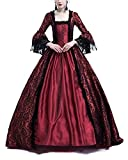 ShiFan Abiti da Festa Medievali da Donna in Pizzo A Maniche Lunghe per Adulti Costumi retrò per Adulti Maxi Bodeaux S